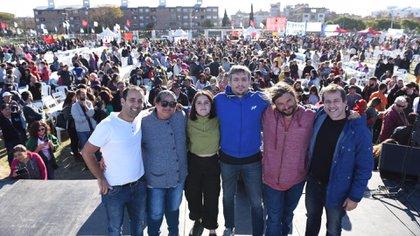Máximo Kirchner compartió un acto en Lugano junto a Mariano Recalde y dirigentes del Frente Patria Grande encolumnados con Juan Grabois.