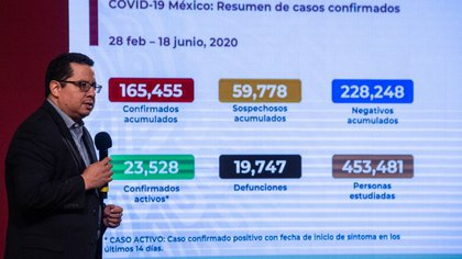 """José Luis Alomía, Director General of Epidemiology, reported that the evening lecture of today is the number 111, and that is the day 18 of the """"New normal"""" (Photo: Cuartoscuro)"""