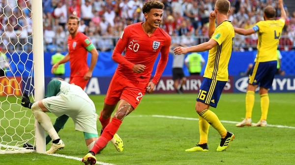 Soccer Football – World Cup – Quarter Final – Sweden vs England – Samara Arena, Samara, Russia – July 7, 2018 England's Dele Alli celebrates scoring their second goal REUTERS/Dylan Martinez