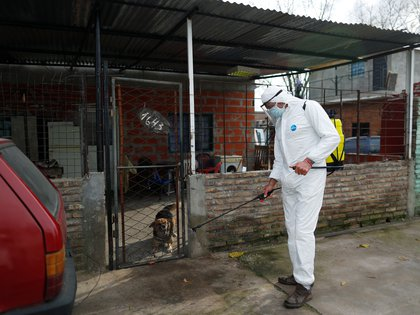 A worker disinfects an area as a preventive measure against the coronavirus disease (COVID-19), in Beccar, on the outskirts of Buenos Aires, Argentina June 17, 2020. REUTERS/Agustin Marcarian