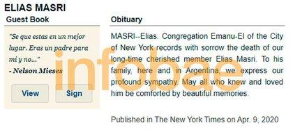 El obituario de Elías Masri