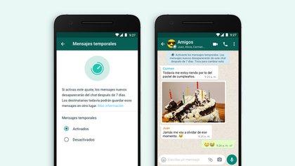 WhatsApp ampliará la activación de los mensajes temporales en los chats grupales