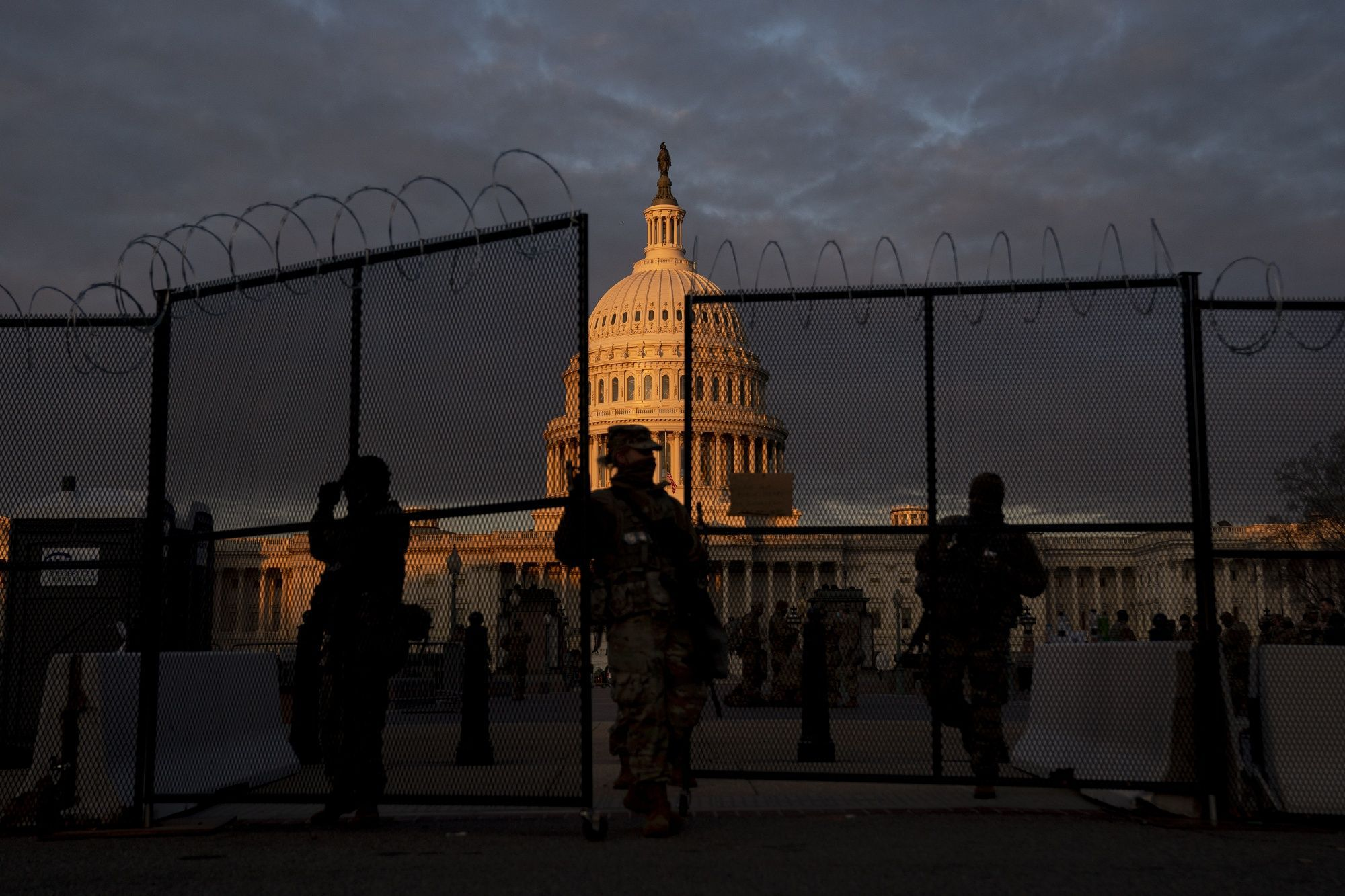 Members of the National Guard outside the U.S. Capitol on Jan. 19.