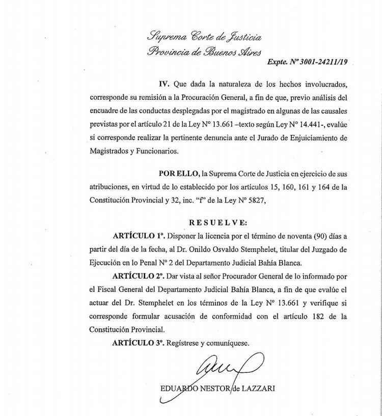 La resolución que difundió esta tarde la Corte Suprema bonaerense