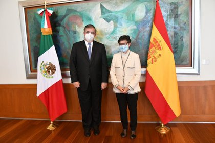 11/18/2020 The Minister of Foreign Affairs of Mexico, Marcelo Ebrard, and his Spanish counterpart, Arancha González Laya.  POLITICS CENTRAL AMERICA EUROPE LATIN AMERICA MEXICO SPAIN EUROPE INTERNATIONAL FOREIGN AFFAIRS OF MEXICO