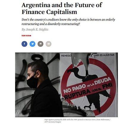 El título y la ilustración del artículo de Stiglitz en The Nation