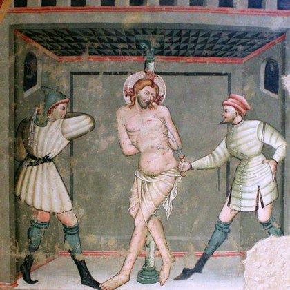 Jesús es azotado. Fresco de artistas de la escuela giottesca, entre el 300 y el 400, Iglesia de Santa María, Vallo di Nera, Perugia, Umbría