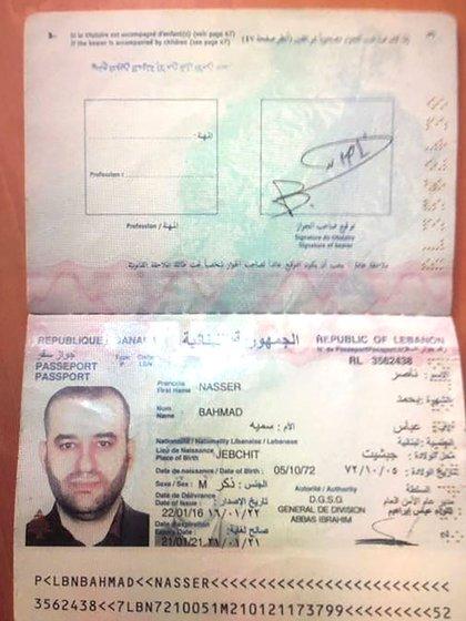 Pasaporte Libanés de Nasser Bahmad