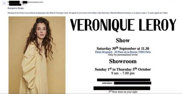 Una invitación a la presentación de Véronique Leroy, en italiano