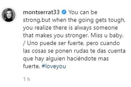 El mensaje de Montserrat para acompañar su foto con Yaya