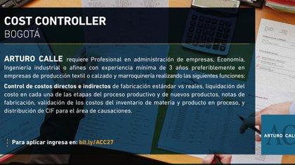 Vacante de Cost Controller / (LinkedIn: arturocalle).