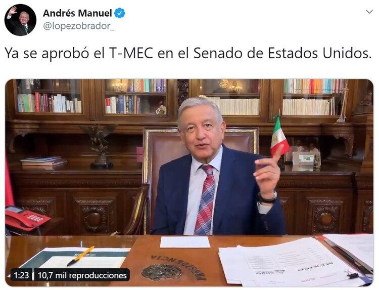 Más temprano, antes de la ratificación, el presidente mexicano, Andrés Manuel López Obrador, celebró ante la prensa la ratificación prevista. (Foto: Twitter)