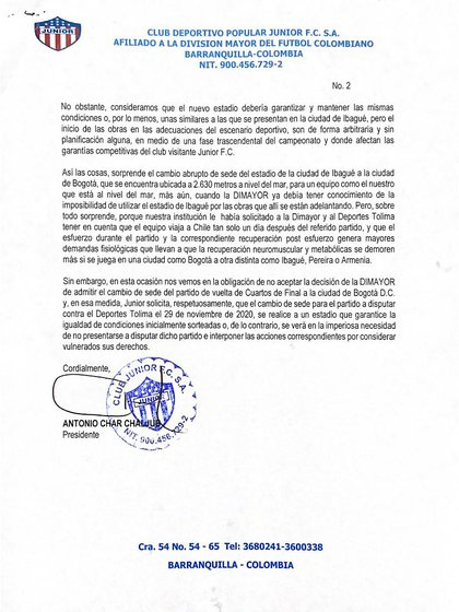 Junior FC se rehúsa a jugar en la ciudad de Bogotá.