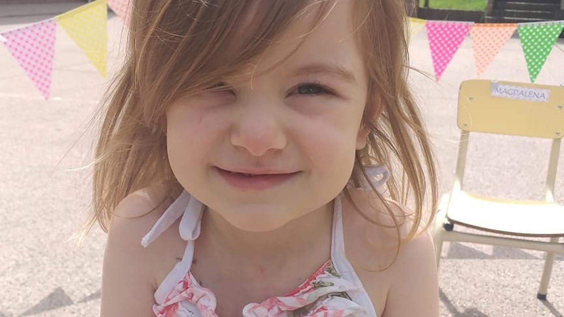 Mara Hollman tiene 3 años y está primera en la lista de emergencia nacional de INCUCAI (@hollmanngerardo)