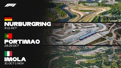 Tres nuevas carreras para el Mundial 2020 de Fórmula 1. (Foto: F1.com)