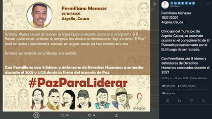 En quince días de 2021 Indepaz ha reportado 9 asesinatos de líderes sociales a nivel nacional / (Twitter: @Indepaz).