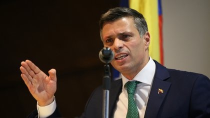 Venezuelan opposition politician Leopoldo Lopez holds a news conference in Bogota