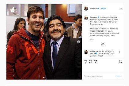 El posteo que le dedicó Lionel Messi a Maradona