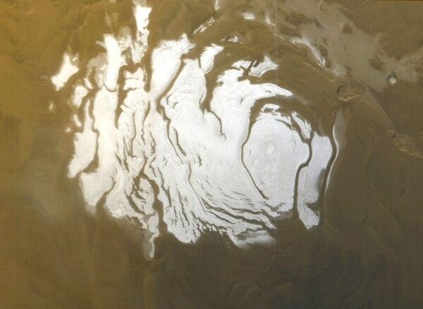 El polo Sur marciano, en una imagen captada en el 2000 (AFP)