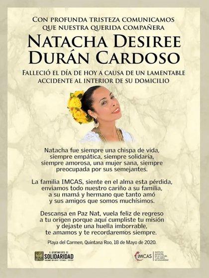 El comunicado que anuncia la muerte de Natacha Durán