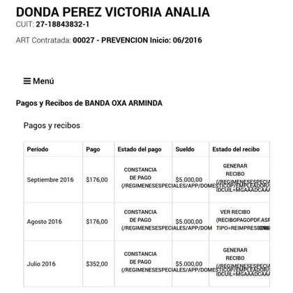 El recibo de sueldo de los primeros meses de trabajo de Arminda con Donda