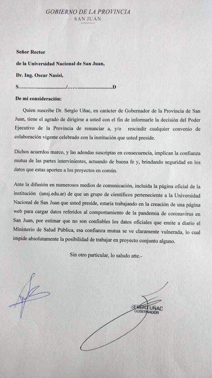 La carta de Sergio Uñac que renuncia a todos los convenios contraídos con la Universidad Nacional de San Juan (UNSJ).