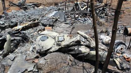 Un helicóptero derribado en Guadalajara, Jalisco (Foto: Archivo)