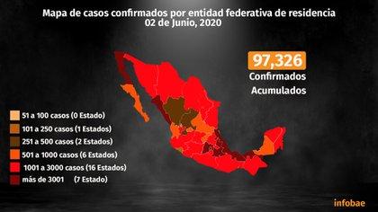 Mapa de casos confirmados por entidad federativa de residencia (Foto: Steve Allen)