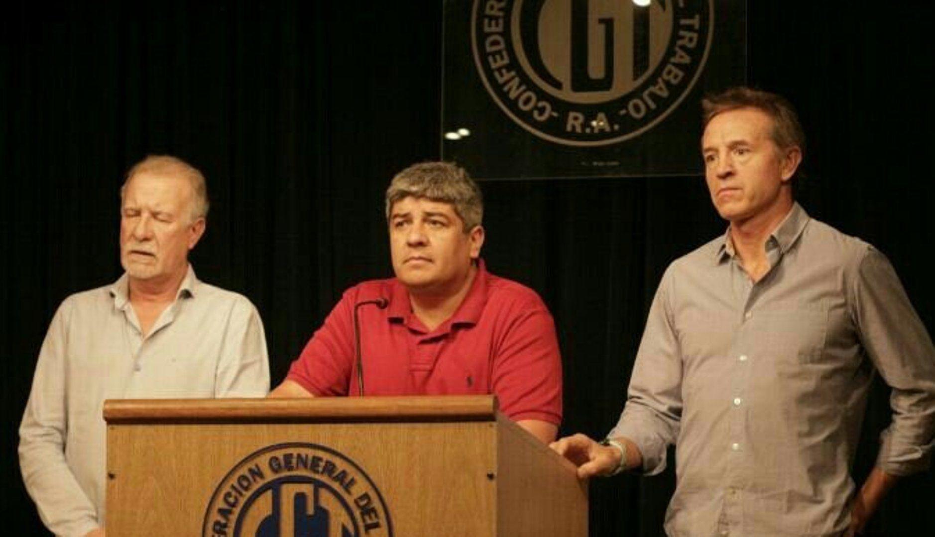 Pablo Moyano se fue de la CGT en 2018 (en la foto, acompañado por Omar Plaini y Jorge Sola)