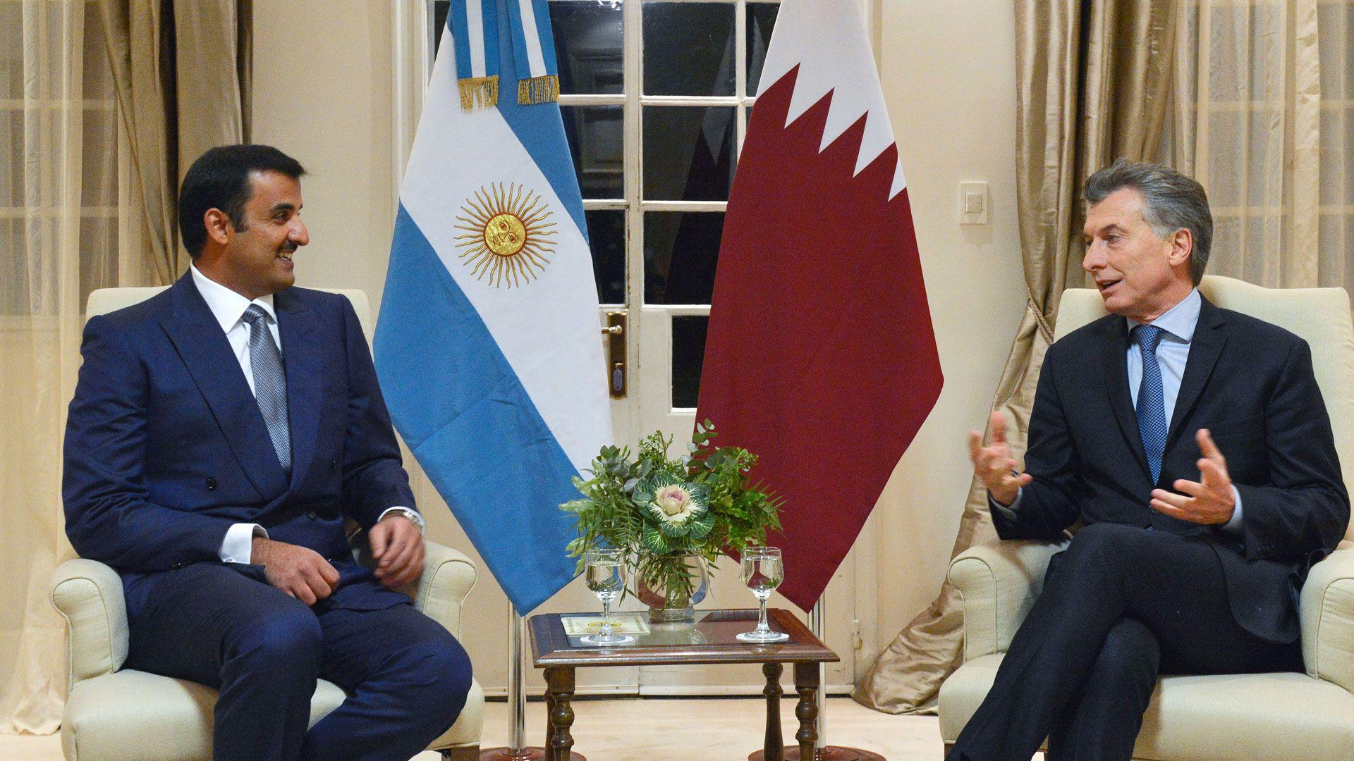 Mauricio Macri junto al emir de Qatar, Sheik Tamim Bin Hamad Al Thani, en su visita a la Argentina en 2018
