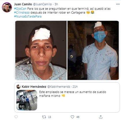 Usuarios en Twitter reportaron como quedó el asaltante que pretendía hurtar a comerciantes de gas en Cartagena / (Twitter: @juancamilo).