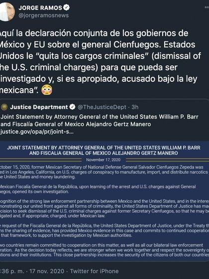 Jorge Ramos dejó ver su postura en un tuit donde informó sobre el comunicado conjunto de autoridades mexicanas y de Estados Unidos (Foto: Twitter@jorgeramosnews)