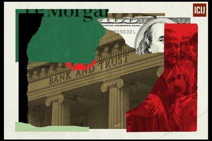 Los bancos que aparecen en FinCEN procesaban regularmente transacciones con compañías registradas en paraísos fiscales, sin conocer al dueño final de la cuenta. Crédito ilustración: ICIJ / Alicia Tatone - BuzzFeed News