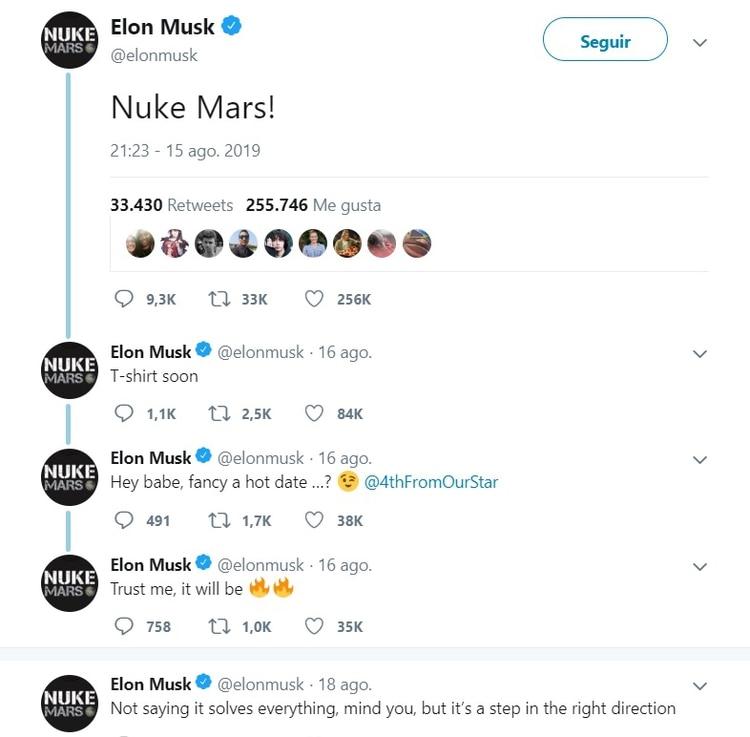 El hilo de Twitter donde Elon Muks plantea la idea de bombardear Marte.