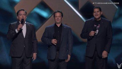 Uno de los momentos más recordados: los representantes de Nintendo, Xbox y PlayStation, lo cual retrata el poder de convocatoria de Keighley.