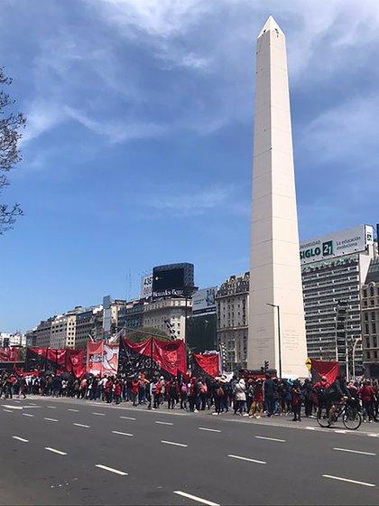 La movilización de hoy en el centro (Twitter: @solotransito)