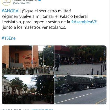El tuit de la Asamblea Nacional (@AsambleaVE)