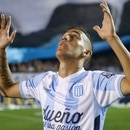 BUENOS AIRES, ARGENTINA - NOVEMBER 23: Ricardo Centurion of Racing Club prays prior a match between Racing Club and River Plate as part of 17th round of Torneo de Transicion 2014 at Presidente Peron Stadium on November 23, 2014 in Buenos Aires, Argentina. (Photo by Gabriel Rossi/LatinContent/Getty Images)