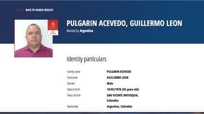 Circular roja a nombre de Guillermo Pulgarín. Foto: Interpol