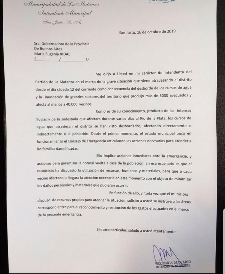 La carta que envió Magario a Vidal con los reclamos