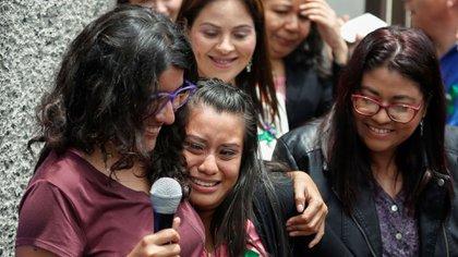 Evelyn Hernández el día de su absolución (reuters)