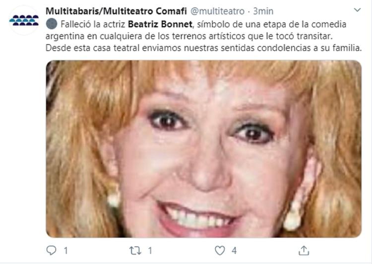 La publicación de Carlos Rottemberg anunciando la triste noticia
