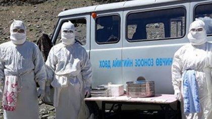 Personal sanitario mongol en la region afectada por un brote de peste bubónica (Centralasia.Media)