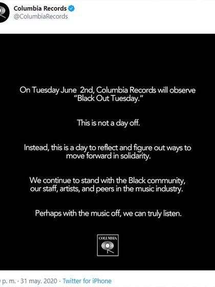 El mensaje de Columbia Records