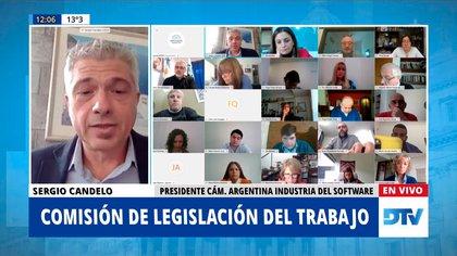 Sergio Candelo, de la Cámara Argentina de la Industria del Software (CESSI), habla ante la Comisión de Legislación del Trabajo