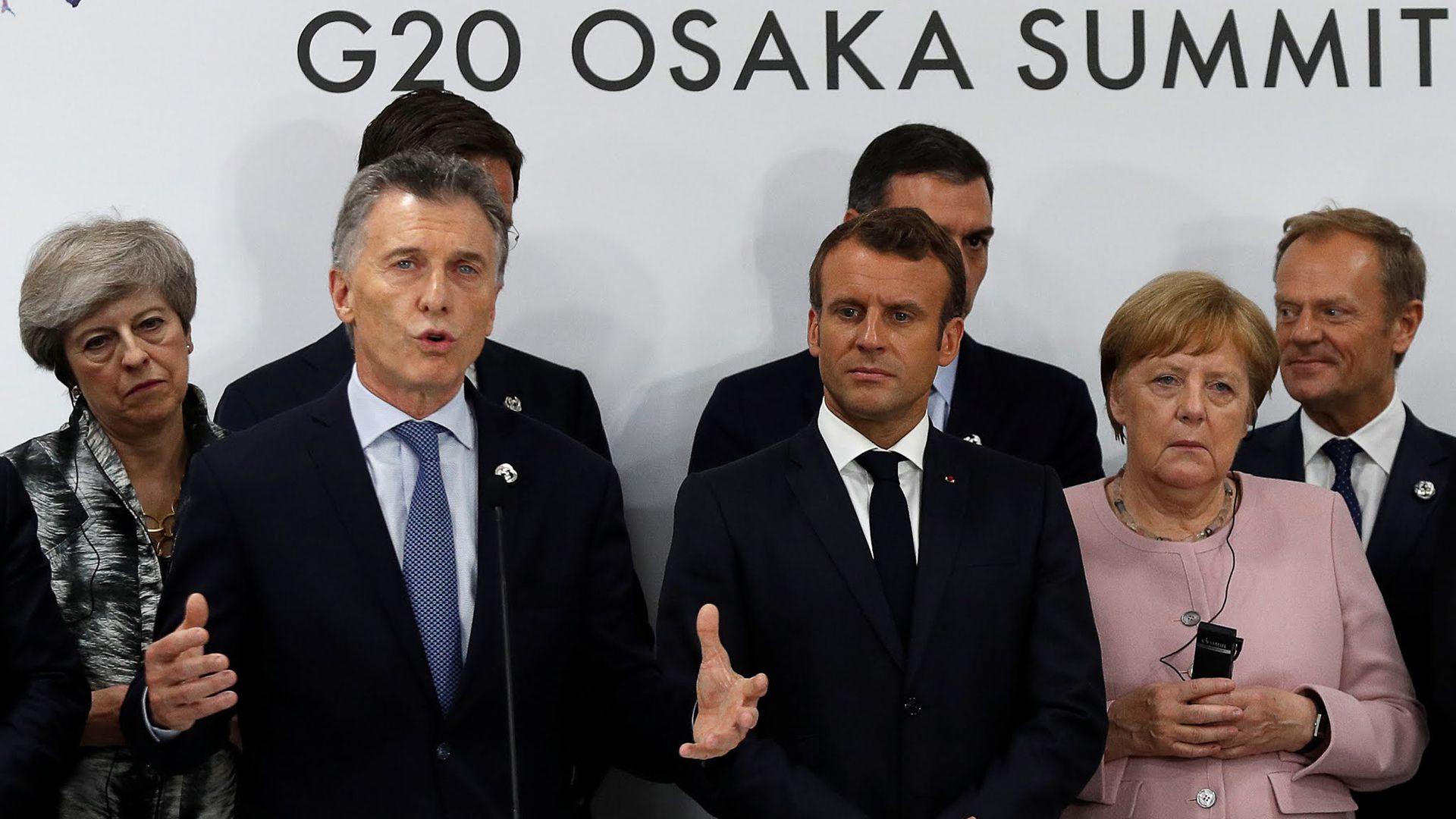 Mauricio Macri durante el G20 realizado en Osaka, Japón, horas después de anunciado el acuerdo