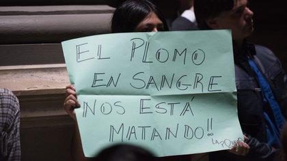 Una vecina protesta durante una audiencia pública por el saneamiento del Riachuelo, a fines de 2016 (Adrián Escandar)