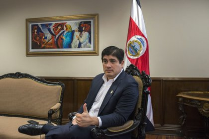 Carlos Alvarado, Costa Rica's president, speaks during an interview at the presidential residence in San Jose, Costa Rica, on Thursday, May 9, 2019. Costa Rica's government says it is close to getting the green light to return to global credit markets and bolster investor confidence after a sell-off in the nation's bonds and currency last year.