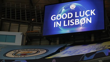 Soccer Football - Champions League - Round of 16 Second Leg - Manchester City v Real Madrid - Etihad Stadium, Manchester, Britain - August 7, 2020 The screen shows a message to the Manchester City players after the match, as play resumes behind closed doors following the outbreak of the coronavirus disease (COVID-19) Pool via REUTERS/Nick Potts