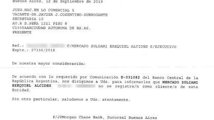 Otro documento: JP Morgan dice desconocerlo.